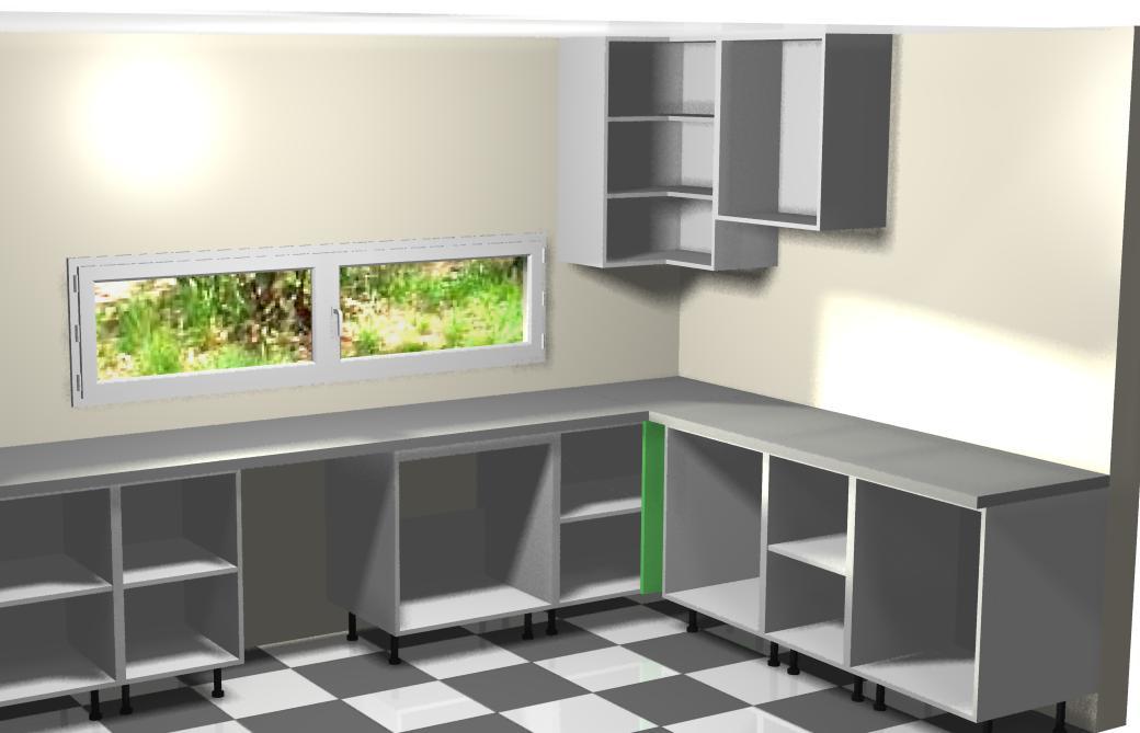 montando muebles altos de la derecha a la cocina