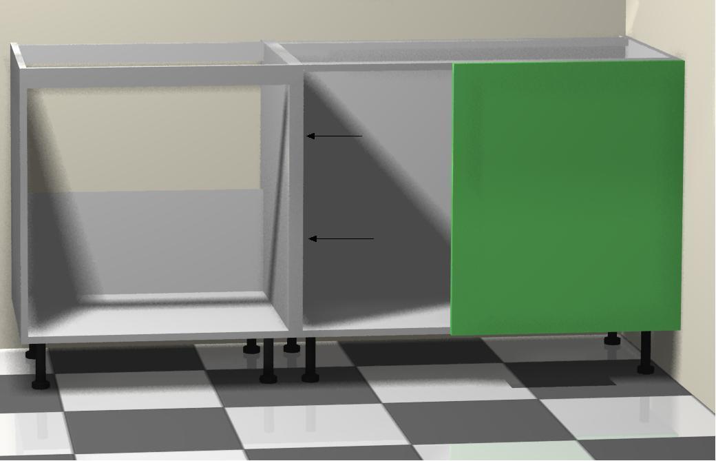 montando muebles bajos de la izquierda a la cocina