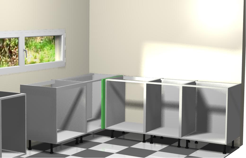 Montando muebles bajos de la derecha a la cocina for Mueble cocina en l